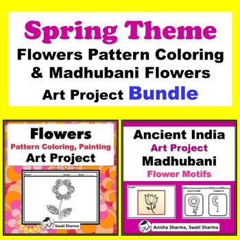 Spring Theme Flowers Pattern Coloring & Madhubani Flowers Art Project Bundle