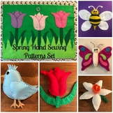 6 Spring Theme Hand Sewing Patterns- Bee, Butterfly, Bluebird, Flower Patterns