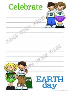 Spring Theme Lined Writing Paper in Color and Line Art