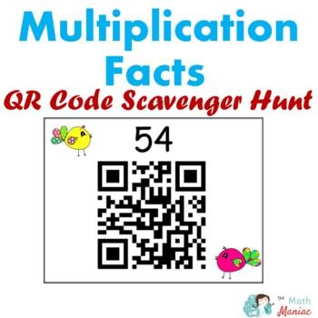 Spring Theme Multiplication Fact QR Code Scavenger Hunt