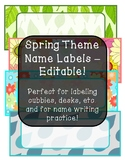 Spring Theme Name Labels - Editable!