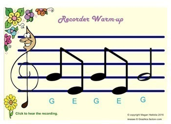 Spring Theme Recorder Warm-up with Recordings - Elementary Music - Pitches AGE