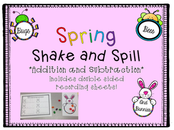 Spring Theme Shake and Spill Addition and Subtraction CCSS