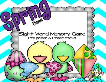 Spring Theme-Sight Word Memory Game: Pre-Primer & Primer Words