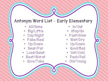 Spring Theme Synonyms and Antonyms - Early and Later Elementary