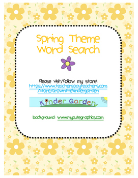 Spring Theme Word Search