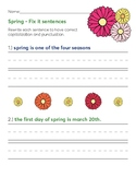 Spring Theme - Fix it sentences
