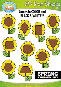 Spring Themed 2D Icon Shapes Clipart Set — Includes 20 Graphics!