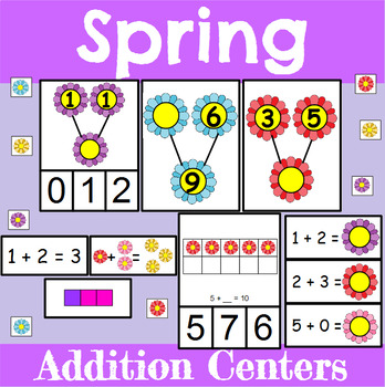 Spring Themed Addition Centers and Activities for Kindergarten