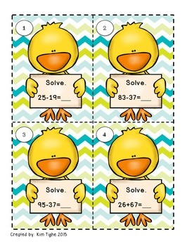 Spring Themed Addition and Subtraction SCOOT Task Cards