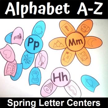 Spring Themed Alphabet Beginning Sounds Matching Center