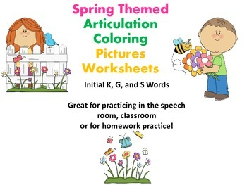 Spring Themed Articulation K & G Sounds Coloring Work Shee