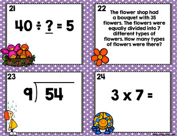 Multiplication and Division Task Cards with Optional QR Codes: Spring Themed