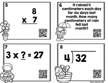 Spring Multiplication and Division Task Cards with Optional QR Codes