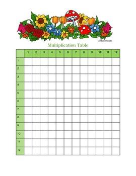 Spring Themed Blank Multiplication chart
