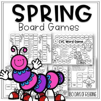 Spring Themed Board Games: CVC, Blends, Fry Phrases, Vowel Teams
