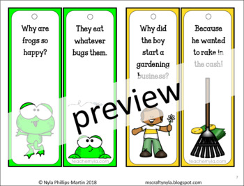 Spring Themed Bookmarks with Silly Joke Riddles