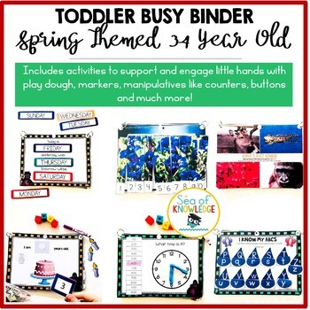 Spring Themed Learning Book Binder, Toddlers Preschool, Montessori Age 3-4