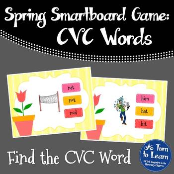 Spring Themed CVC Words Game for Smartboard or Promethean Board!