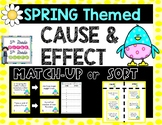 Spring Themed Cause and Effect Task Cards Match Up Sort