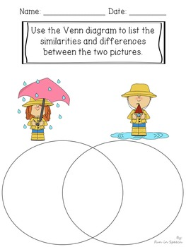 Spring Themed Compare and Contrast Worksheets - Print & Go Activities