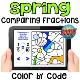 Spring Themed Comparing Fractions Color by Code Boom Cards