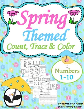 spring themed count trace color numbers 1 10 - Color Numbers