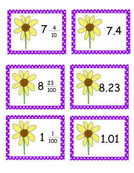Spring Themed Decimals and Fractions Memory Game