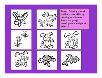 Fine Motor: Spring Themed Design Coloring Sheets for Grasp Development Skills