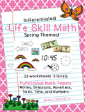 Spring Themed: Differentiated Life Skill Math Pack for Special Education