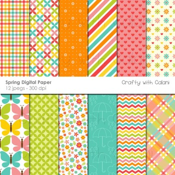 Spring Themed Digital Paper and Background Set - 12 high res background image