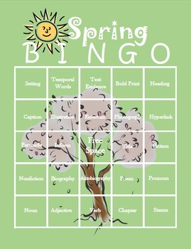 Spring Themed ELA Bingo