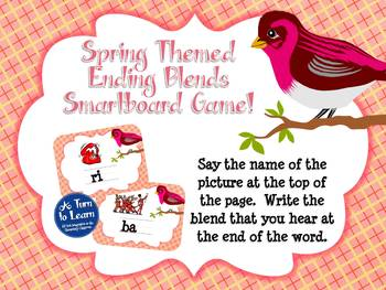 Spring Themed Ending Blends Game for Smartboard or Promethean Board!