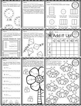 Spring Themed First Grade Math Packet