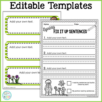Spring Editing Sentences: First Grade, Capitalization, Punctuation, Spelling