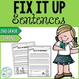 Spring Editing Sentences: Second Grade, Capitalization, Punctuation, Spelling