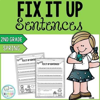 Spring Editing Sentences: Second Grade, Capitalization, Punctuation, Spelling