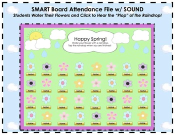 Spring Themed Flowers and Raindrops SMART Board Attendance