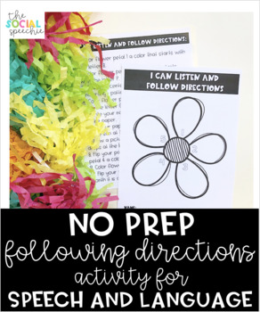 Spring Themed Following Directions Activity for Speech and Language