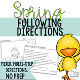 Spring Following Directions Coloring Pack- Mixed directions for Speech Therapy