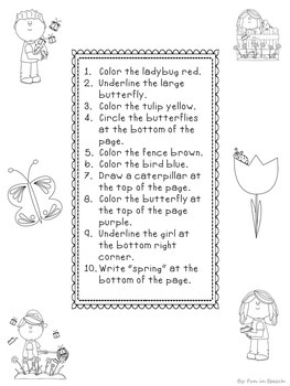 Spring Themed Following Directions Worksheets - NO PREP