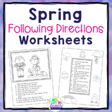 Spring Following Directions Worksheets for Speech and Language Therapy
