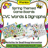 Spring Themed Game Boards- Short Vowels/Consonant Digraphs