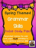 Spring Themed Grammar Skills Color Code and Printable FUN!