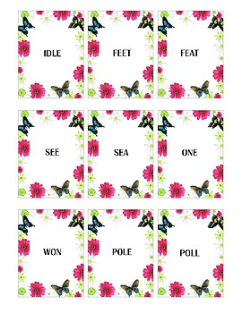 Spring Themed Homophone Concentration Game - ≤4 letters