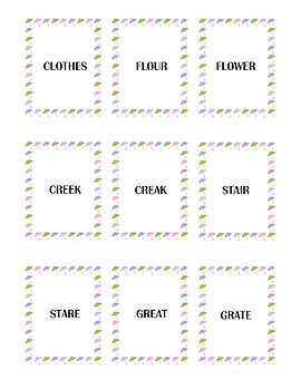 Spring Themed Homophone Concentration Game - 5≥ letters
