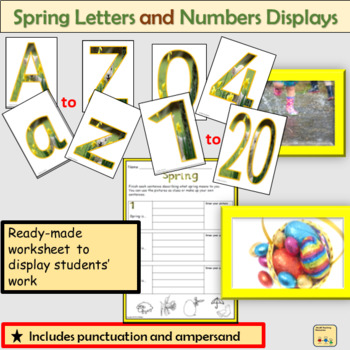 Spring-Themed Lettering Numbers Display  Punctuation Math Signs Spring Photos