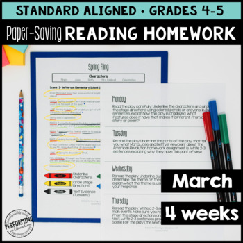 Paper-Saving Reading Homework for 4th & 5th - 4 weeks Spring Themed