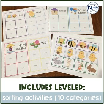 Spring Themed Matching & Sorting Task Boxes or File Folder