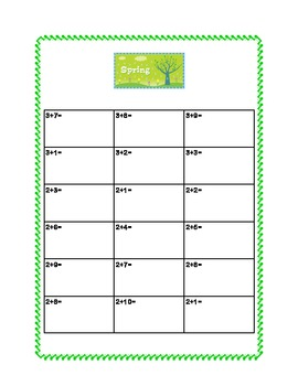 Spring Themed Math Addition & Subtraction Within 20 Printable Worksheets